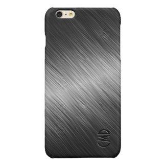 Monogramed Simple Black Brushed Metal Look Glossy iPhone 6 Plus Case