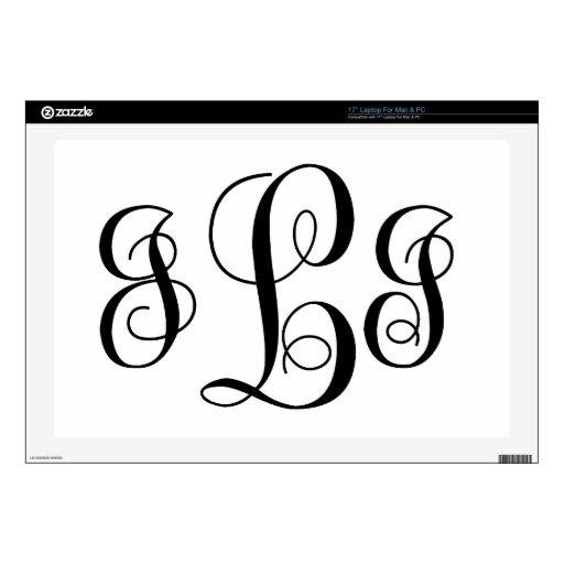 Monogramed Style J  I L , Laptop Decals