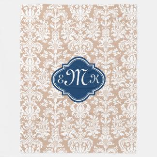 Monogramed Tan And White Floral Damasks Fleece Blanket