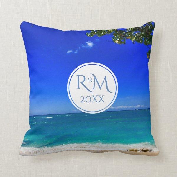 Monogramed Tropical Beach Throw Pillow