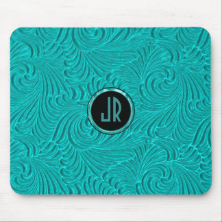 Monogramed Turquoise Embossed Floral Damasks Mouse Pad