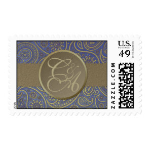 Monogramed vintage blue with gold paisley stamp