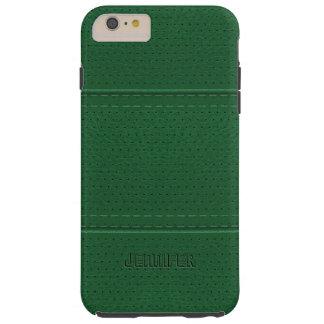 Monogramed Vintage Dark Green Faux Leather Tough iPhone 6 Plus Case