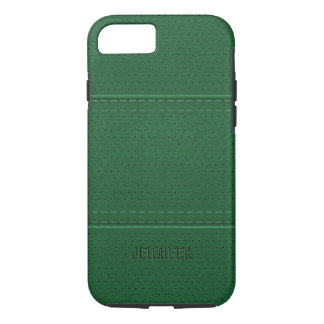 Monogramed Vintage Dark Green Faux Leather iPhone 7 Case
