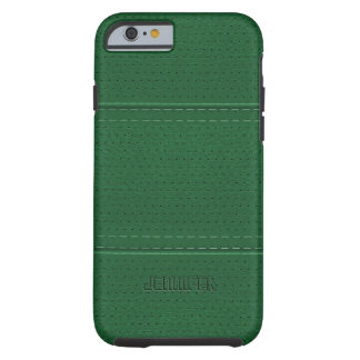 Monogramed Vintage Dark Green Faux Leather Tough iPhone 6 Case