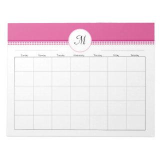 Monogramed Weekly Planner 40 pg 11 x 8.5 Notepad