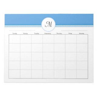 Monogramed Weekly Planner 40 pg 11 x 8.5 Note Pads