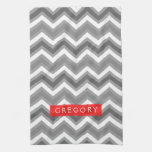 Monogramed White And Gray Chevron Pattern 2 Kitchen Towels