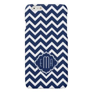 Monogramed White & Blue Geometric Zigzag Chevron Glossy iPhone 6 Case