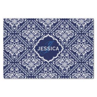 "Monogramed White Floral Damasks & Blue Background 10"" X 15"" Tissue Paper"