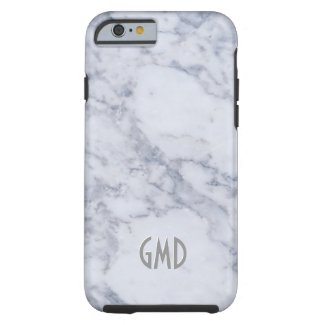 Monogramed White Marble Stone Pattern Tough iPhone 6 Case