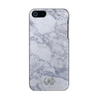 Monogramed White Marble Stone Pattern Incipio Feather® Shine iPhone 5 Case