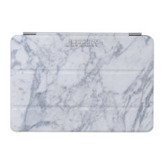Monogramed White Marble Stone Pattern Ipad Mini Cover at Zazzle