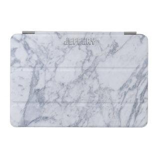 Monogramed White Marble Stone Pattern Ipad Mini Cover at Zazzle