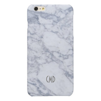 Monogramed White Marble Stone Pattern Glossy iPhone 6 Plus Case