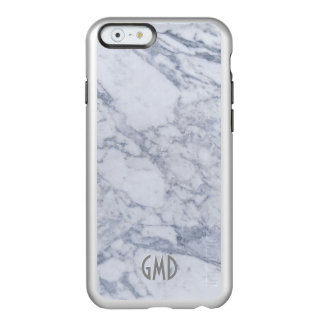 Monogramed White Marble Stone Pattern Incipio Feather® Shine iPhone 6 Case