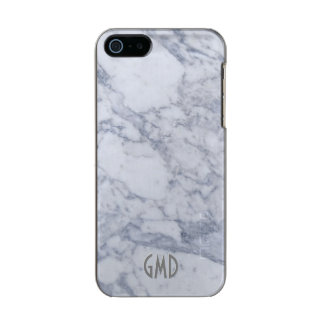 Monogramed White Marble Stone Pattern Metallic iPhone SE/5/5s Case