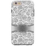 Monogramed White & Metallic Silver Floral Damasks Tough iPhone 6 Plus Case
