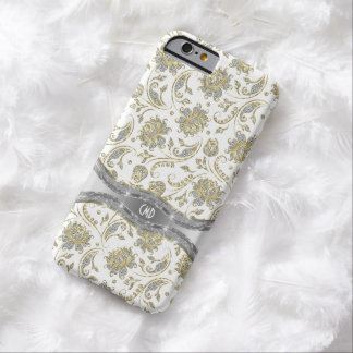 Monogramed White & Silver Glitter Floral Damasks Barely There iPhone 6 Case