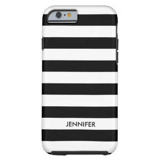 Monogramed White Stripes Black Background Tough iPhone 6 Case