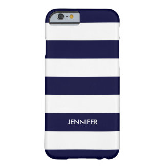 Monogramed White Stripes Blue Background Barely There iPhone 6 Case