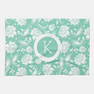 Monogramed White & Teal-Green Floral Damasks Kitchen Towel