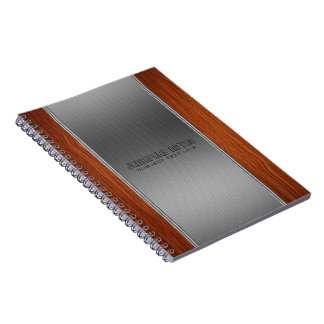 Monogramed Wood And Metallic Background Spiral Notebook