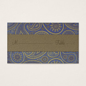 MonogramGolden Paisley on Blue Wedding Place cards