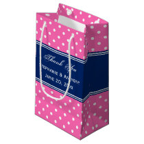 MonogramHot Pink, White Polka Dot with Royal Blue Small Gift Bag