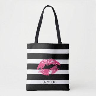 Monogramm Pink Lips And Black White Stripes Tote Bag
