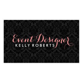Monogrammatic Elegant Black Floral Damasks Double-Sided Standard Business Cards (Pack Of 100)
