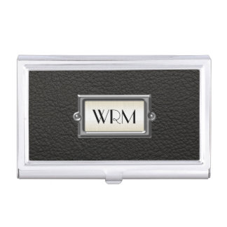 Monogrammed 3-Letter Executive Men's Personalized Business Card Holder