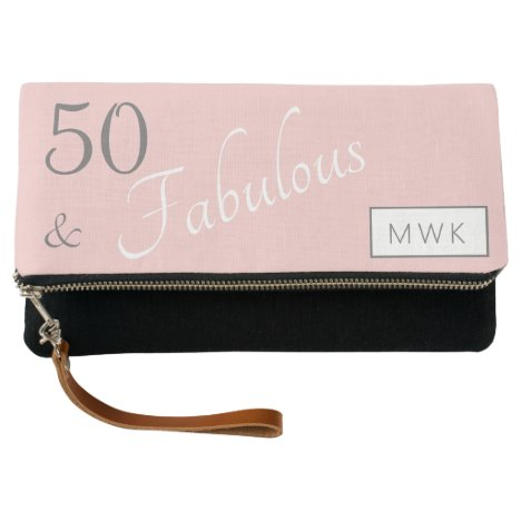 Monogrammed 50 and Fabulous Pink Gray Clutch