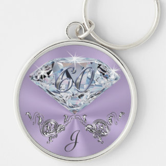 Monogrammed 60th Birthday Gift Ideas for Her Keychain