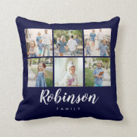 Monogrammed 6 Photo Classic Family | Throw Pillow
