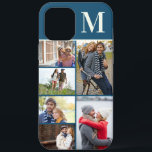"""Monogrammed 6 Photo Collage Blue iPhone 12 Pro Max Case<br><div class=""""desc"""">Monogrammed photo collage iPhone case which you can personalize with 6 of your favorite photos and your initial. The template is set up ready for you to add your photos, working top to bottom on the left side, then top to bottom on the right side. The design has an deep...</div>"""