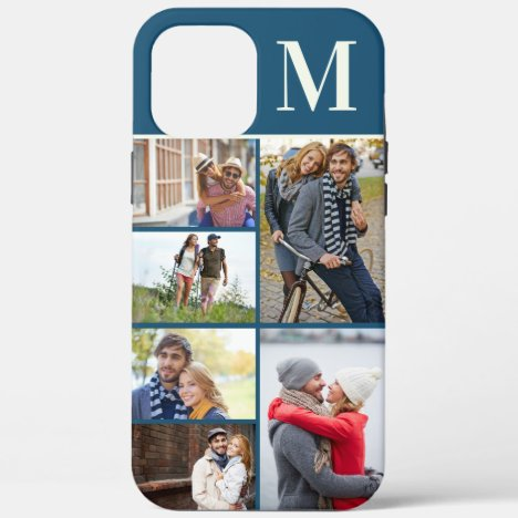 Monogrammed 6 Photo Collage Blue iPhone 12 Pro Max Case