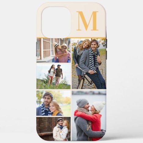Monogrammed 6 Photo Collage Cream Yellow iPhone 12 Pro Max Case