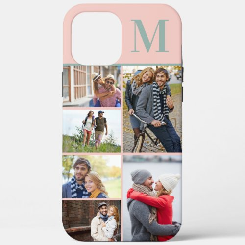 Monogrammed 6 Photo Collage Peach Green Phone Case