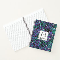Monogrammed 90s Glow Floral Pattern Trendy Flowers Notebook