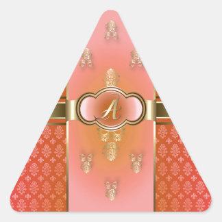 Monogrammed A Flemish Orange.jpg Triangle Sticker