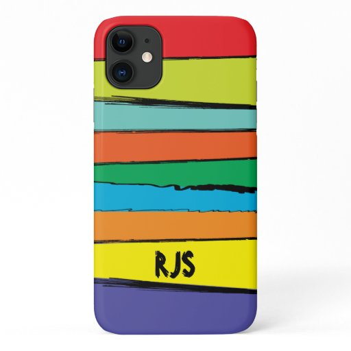 Monogrammed Abstract Rainbow iPhone 11 Case