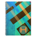 Monogrammed Abstract Weaving Stripes Blues Spiral Notebook