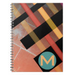 Monogrammed Abstract Weaving Stripes Red Yellow Notebook