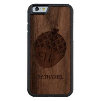 MONOGRAMMED ACORN CARVED WALNUT iPhone 6 BUMPER CASE