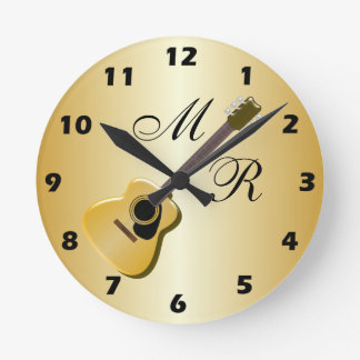 Monogrammed Acoustic Guitar Round Clock