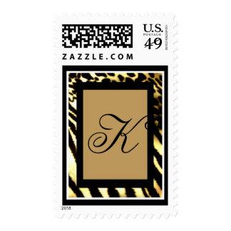 Monogrammed African Safari print postage stamps