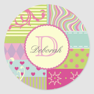 Monogrammed and Personalized Patchwork-Style Round Classic Round Sticker