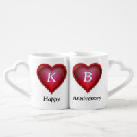 Monogrammed Anniversary Mugs, type in Number Years Coffee Mug Set