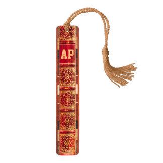 Monogrammed Antique Book Spine Bookmark Cherry Bookmark